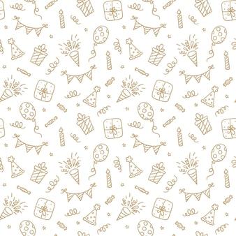 Nahtloses muster mit alles gute zum geburtstaggekritzel. skizze der partydekoration, geschenkbox und ballons. kinder zeichnen. handgezeichnete vektor-illustration auf weißem hintergrund.