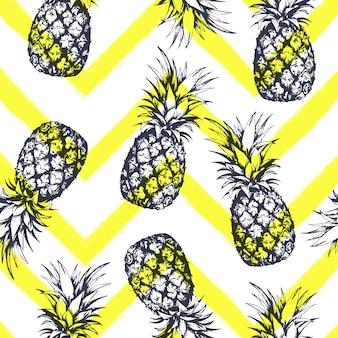Nahtloses muster mit ananas, handgezeichnet im grafischen stil. vektor-illustration.
