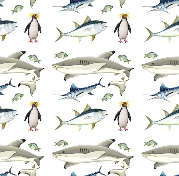 Nahtloses muster mit antarktischen tieren auf weißem hintergrund