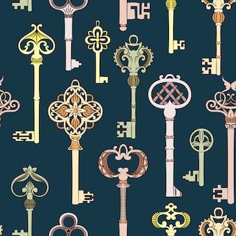 Nahtloses muster mit antiken schlüsseln