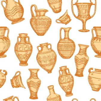 Nahtloses muster mit antiker vasen-skizze