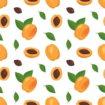Nahtloses muster mit aprikosen, samen und blättern.