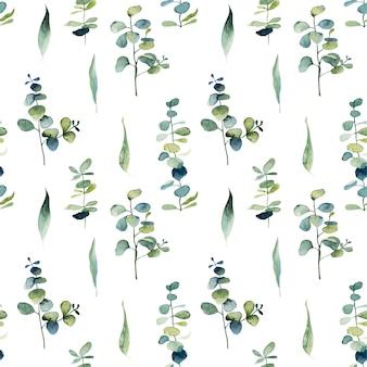 Nahtloses muster mit aquarell-eukalyptuszweigen und grünen blättern
