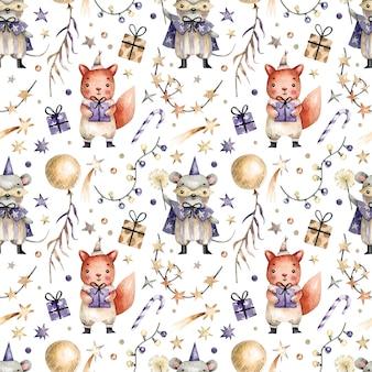Nahtloses muster mit aquarell gemalt niedliche maus und kaninchen in karnevalskostümen, geschenken, girlanden und süßigkeiten. aquarellhintergrund mit zeichen und elementen einer partei, neues jahr, geburtstag