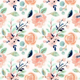 Nahtloses muster mit aquarell von pfirsichblumen und grünen blättern