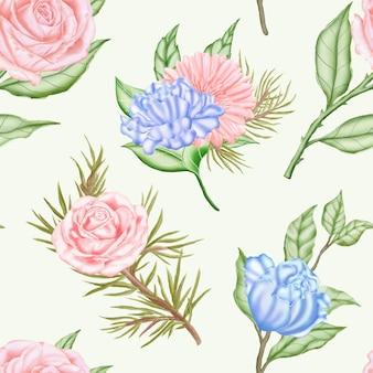 Nahtloses muster mit aquarellblumen