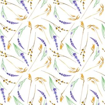 Nahtloses muster mit aquarellgelben trockenen wildblumen und lavendelblüten