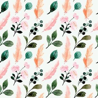 Nahtloses muster mit aquarellgrünen blättern und rosa feder