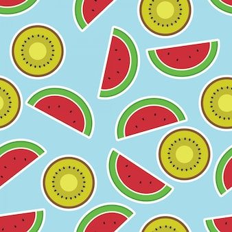 Nahtloses muster mit aquarellkiwi- und -wassermelonenscheiben