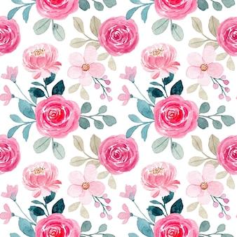 Nahtloses muster mit aquarellrosa rosenblume