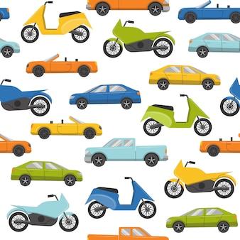 Nahtloses muster mit autos und motorrädern