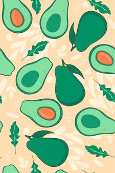 Nahtloses muster mit avocado auf einem beige hintergrund. vektorgrafiken.