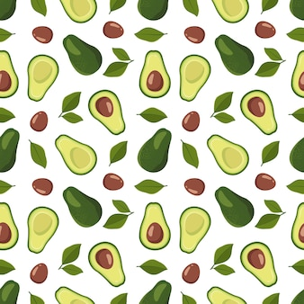 Nahtloses muster mit avocado und blättern