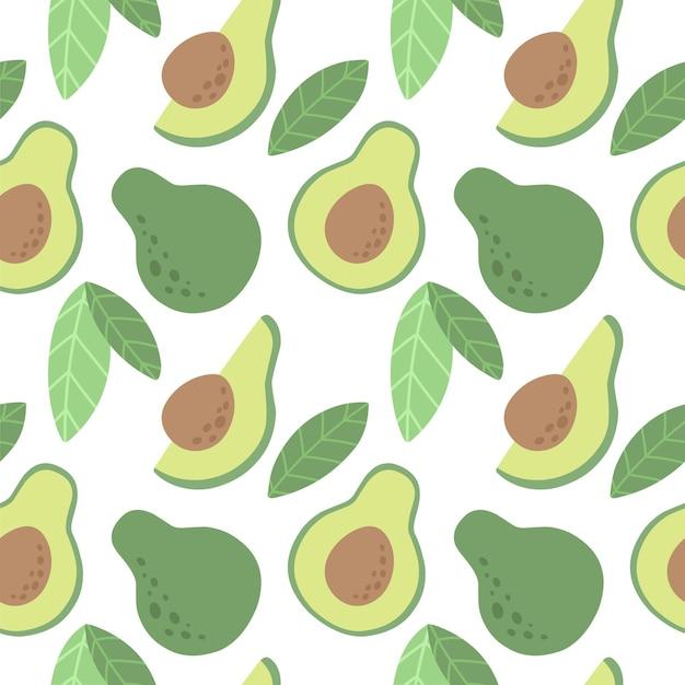 Nahtloses muster mit avocado vektormuster im skandinavischen stil