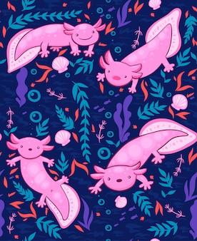 Nahtloses muster mit axolotl
