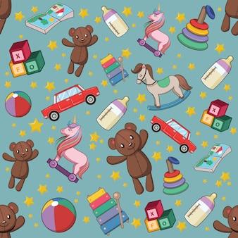 Nahtloses muster mit babyspielwaren