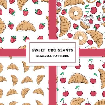 Nahtloses muster mit backen. cupcake, erdbeere, kirsche, donut, hörnchen, kekse. vektor.