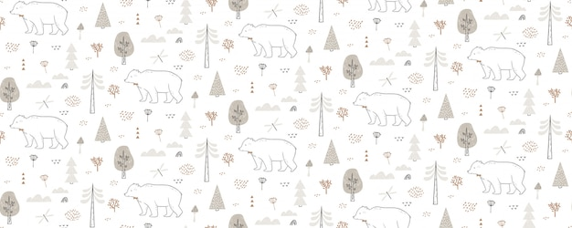 Nahtloses muster mit bär, libelle, wolken, bäumen. hand gezeichnetes waldmuster wiederholt sich endlos.