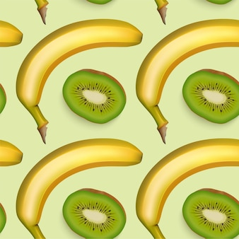 Nahtloses muster mit banane und kiwi