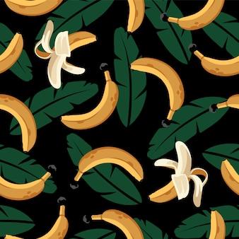 Nahtloses muster mit bananen und blättern auf schwarz.