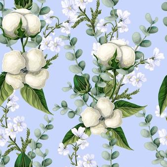 Nahtloses muster mit baumwollblumen, eukalyptuszweige