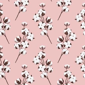 Nahtloses muster mit baumwollblumen und zweigen