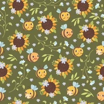 Nahtloses muster mit bienen und sonnenblumen