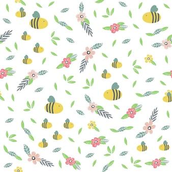Nahtloses muster mit bienenblumenblättern und handgezeichneten elementen