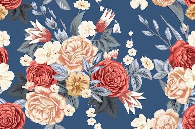 Nahtloses muster mit blassen rosen der weinlese