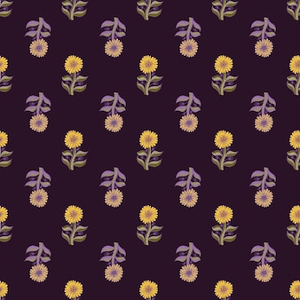 Nahtloses muster mit blassen sonnenblumenelementen. vintage-stil-vektor-illustration für saisonale textildrucke, stoffe, banner, hintergründe und tapeten.