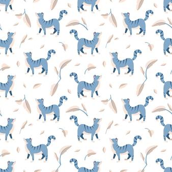 Nahtloses muster mit blau getigerter katze und blättern haustier- und pflanzendruck
