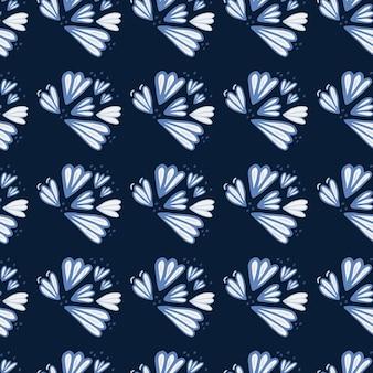 Nahtloses muster mit blau konturierten blütenformen. dunkler marinehintergrund. einfacher blumenhintergrund. ed für tapeten, textilien, geschenkpapier, stoffdruck. illustration.