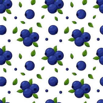 Nahtloses muster mit blaubeeren und blättern. helles, blaues, fruchtiges muster
