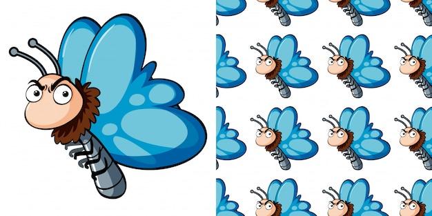 Nahtloses muster mit blauem schmetterling
