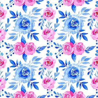 Nahtloses muster mit blauem und rosa aquarellblumen