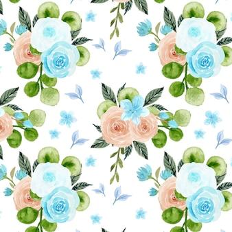 Nahtloses muster mit blauen und pfirsichfarbenen blüten Premium Vektoren