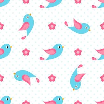 Nahtloses muster mit blauen vögeln und blumen