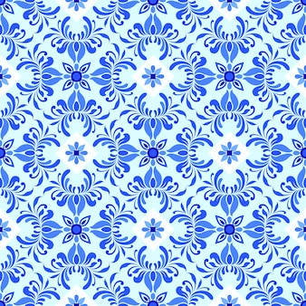 Nahtloses muster mit blauer damastverzierung