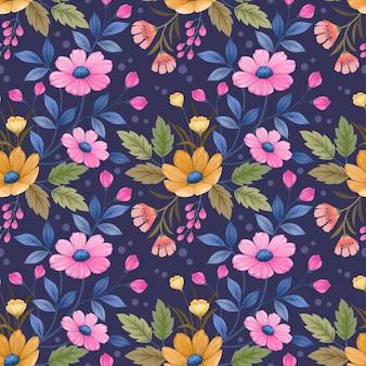 Nahtloses muster mit blüten und blättern