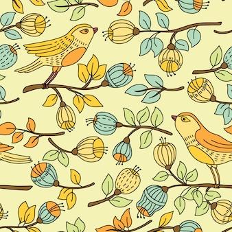 Nahtloses muster mit blume und vögeln.