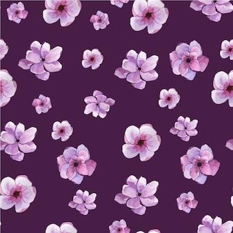 Nahtloses muster mit blumen auf einem lila hintergrund