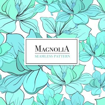 Nahtloses muster mit blumen. blaue magnolie