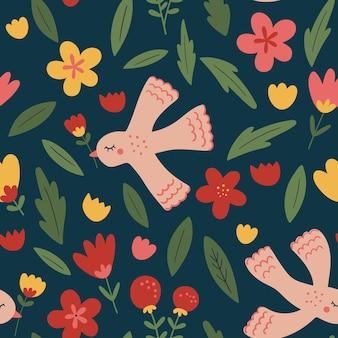 Nahtloses muster mit blumen und vögeln doodle illustrationen mit stilisierten dekorativen blumen