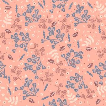 Nahtloses muster mit blumenelementen auf einem rosa hintergrund. grafik.