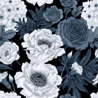Nahtloses muster mit blumenrosen, pfingstrosen, hortensien, gartennelken.