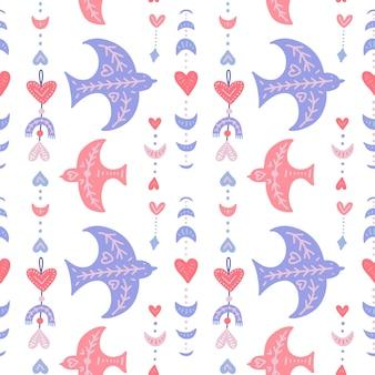 Nahtloses muster mit boho-vögeln und geometrischen federn und mond für valentinstag
