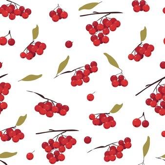 Nahtloses muster mit botanischen elementen. verschiedene büschel eberesche mit blättern. reife rote beeren.