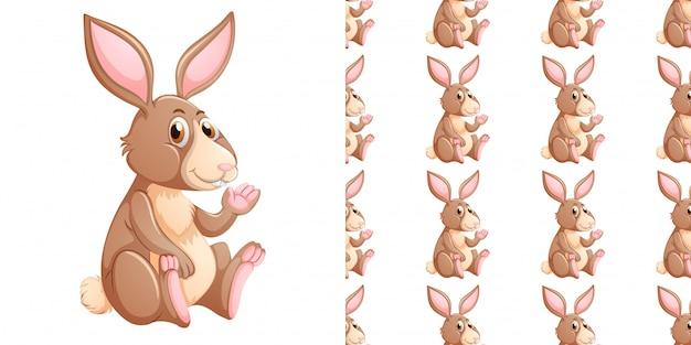 Nahtloses muster mit braunem kaninchen