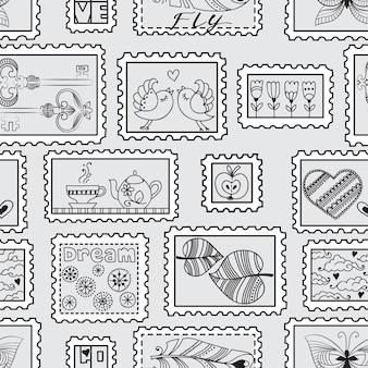 Nahtloses muster mit briefmarken. nahtloses stempel handgezeichnetes muster. kann für tapeten, webseitenhintergrund, verpackung, textil und sammelalbum verwendet werden.