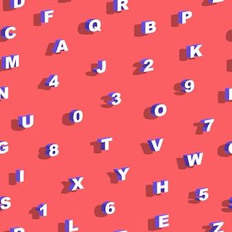 Nahtloses muster mit buchstaben und zahlen vektorillustration